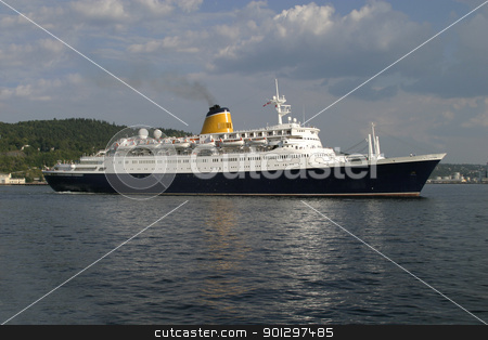 Ferry stock photo, A large ferry ship at sea by Tyler Olson