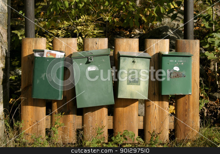 Mail Box stock photo, 4 mail boxes in Oslo, norway. by Tyler Olson
