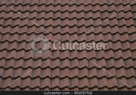 Roof Tile Texture stock photo, Red roof tile texture image. by Tyler Olson