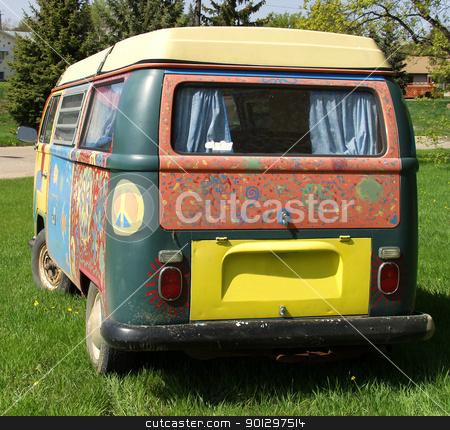 Hippie Van stock photo, Brightly painted hippie van by Tyler Olson