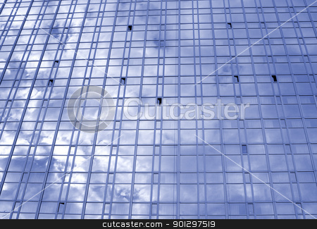 Window stock photo, Skyscraper with window texture and cloud reflection by Tyler Olson