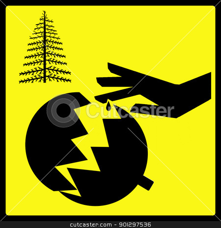Sharp Christmas Decoration stock photo, A warning sign for sharp broken Christmas decorations by Tyler Olson