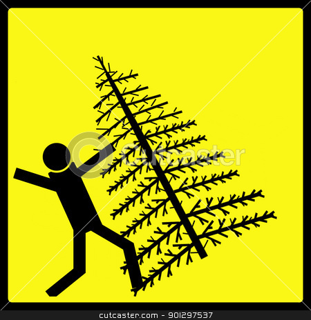 Christmas Tree Fall stock photo, Warning sign for a Christmas tree falling over by Tyler Olson