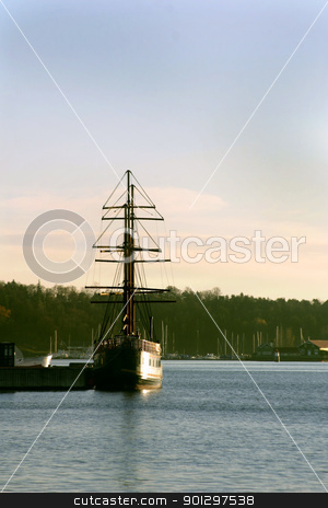 Ship Oslo Fjord stock photo, A square sail ship docked in the Oslo Fjord, Norway by Tyler Olson