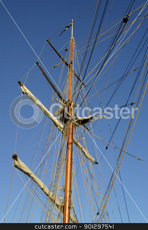 Tall Ship stock photo, Tall ship square mast detail by Tyler Olson