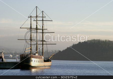 Tall ship in the Oslo Fjord stock photo, Tall ship with sqaure mast in the oslo fjord by Tyler Olson