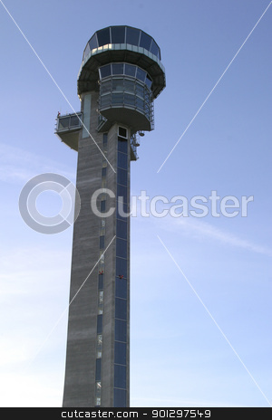 Airplane Control Tower stock photo, control tower at an airport. by Tyler Olson