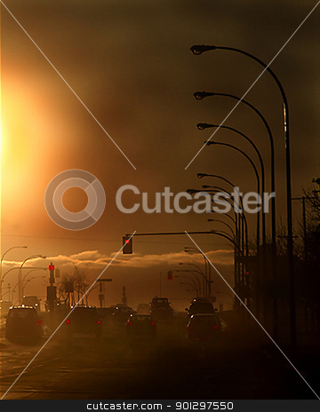 Evening Pollution stock photo, A pollution filled street in saskatoon, saskatchewan, canada by Tyler Olson