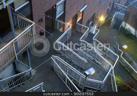 Metail Stairway stock photo, architectural metal staircase twisting back and forth by Tyler Olson