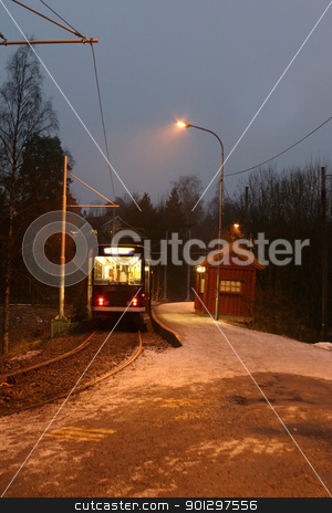 Street Car stock photo, Street car in the evening at the station by Tyler Olson