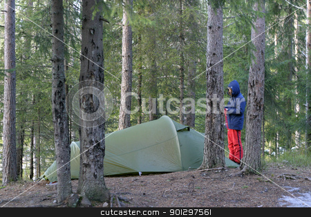 Camping with Tent stock photo, camping with tent in the forest by Tyler Olson