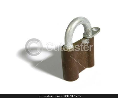 Padlock stock photo, Isolated padlock on white  by Tyler Olson