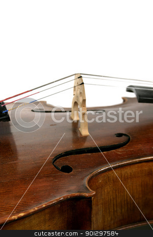 Cello Detail stock photo, A cello isolated on white. by Tyler Olson