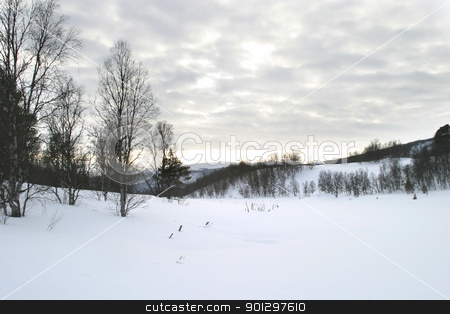 Winter Mountain Scene stock photo, Winter Mountain Scene with dramatic sky by Tyler Olson