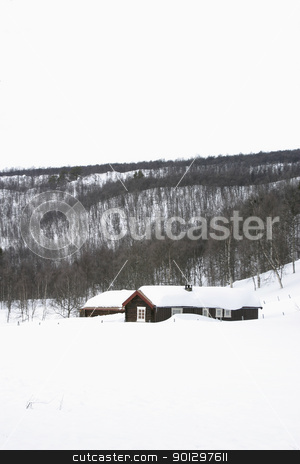Winter Cabin stock photo, Winter Mountain Scene with Cabin by Tyler Olson