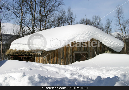 Winter Cabin stock photo, Wooden cabin, covered in a LOT of snow, Norway. by Tyler Olson