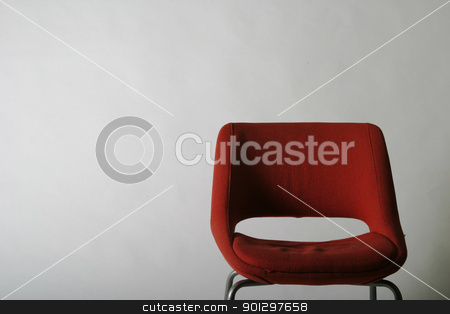 Red Chair stock photo, A simple red chair on a white background by Tyler Olson