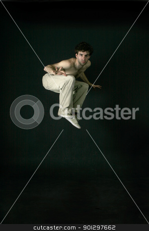 Jumping Male stock photo, A male startled and jumping by Tyler Olson