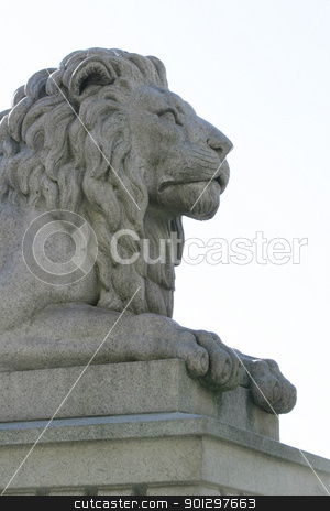 Lion Statue stock photo, A statue of a lion at stortinget, Oslo Norway parliment building by Tyler Olson