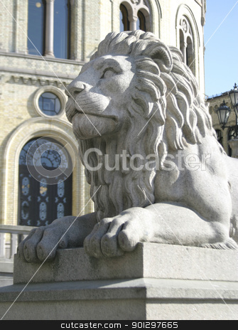 Lion Statue stock photo, Stone lion statue by Tyler Olson