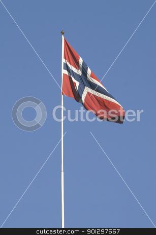 Norwegian Flag stock photo, norwegian flag on a flag pole by Tyler Olson