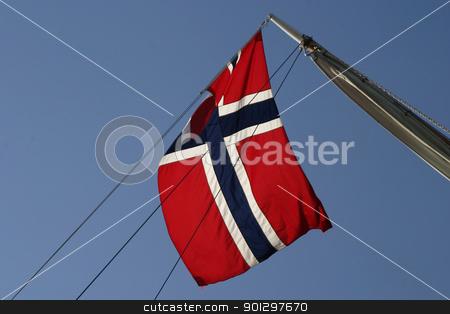 Norwegian Flag stock photo, Norwegian flag on a boat by Tyler Olson