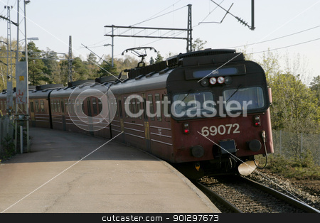 Local Train in Oslo stock photo, Train coming to Ljan stasion in Oslo, Norway by Tyler Olson