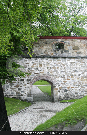 Stone Wall stock photo, Stone wall at akershus festning, Oslo Norway by Tyler Olson