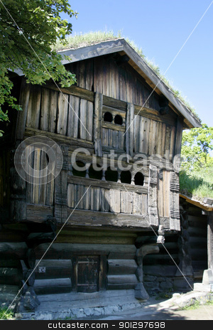 Old Norwegian Farm House stock photo, An old norwegian farm house at the folk museum in Oslo, Norway by Tyler Olson