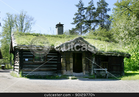 Norwegian Farm House stock photo, An old norwegian farm house at the folk museum in Oslo, Norway by Tyler Olson