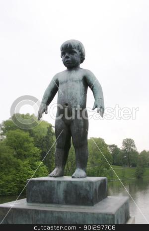 Little Girl Sculpture stock photo, Sculpture of a little girl at Vigeland Sculpture Park, Oslo Norway.  (Frognerparken)  by Tyler Olson