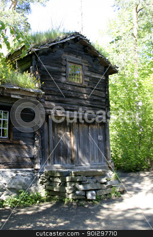Log House stock photo, A log house detail at the folk museum in Oslo Norway by Tyler Olson