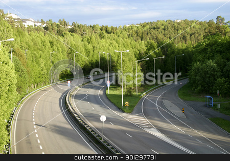 Highway in a Forest Area stock photo, E18 going from Fredrikstad Oslo, Norway by Tyler Olson