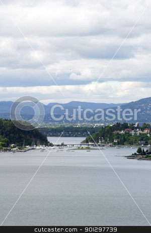 Oslo fjord stock photo, Oslo Fjord in early summer viewed form Ljan train station. by Tyler Olson