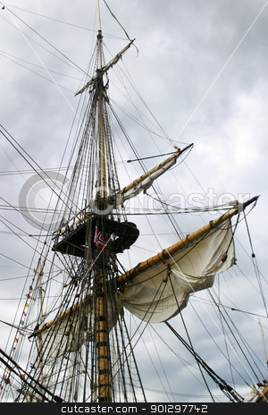 Tall Ship stock photo, Tall Ship at dock in akerbrygge, Oslo Norway. by Tyler Olson