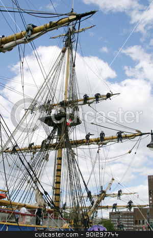 Square Mast stock photo, square rigged ship in the oslo dock by Tyler Olson