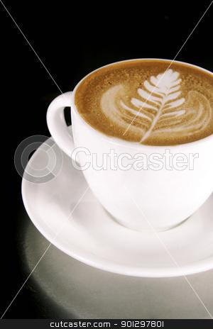 Latte Art stock photo, Latte Art on a Cappucinno by Tyler Olson