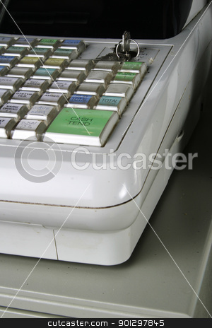 Cash Register Detail stock photo, Well used cash register. by Tyler Olson