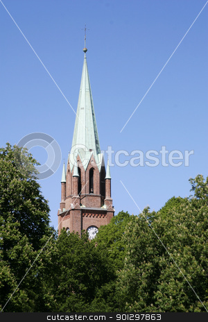 Fredrikstad Domkirke stock photo, Fredrikstad Dome Church with trees surrounding it by Tyler Olson