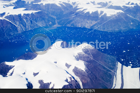 Eastern Greenland stock photo, Aerial shot of eastern Greenland by Tyler Olson