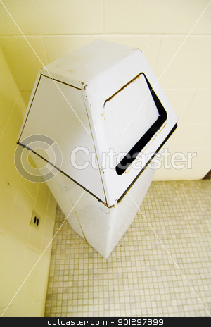 Garbage Can stock photo, Garbage can in a public washroom. by Tyler Olson