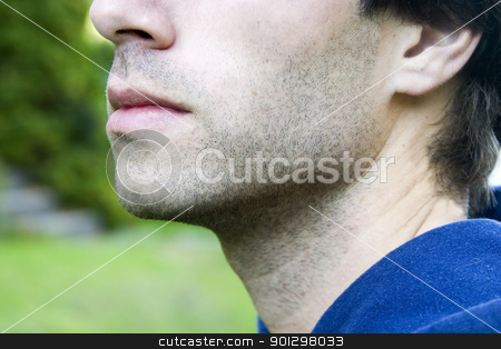 Male Mouth stock photo, The mouth of a male with slight stubble by Tyler Olson