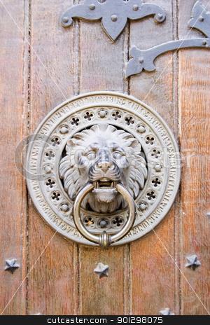 Door Knocker stock photo, Lion door knocker on a church in Oslo, Norway by Tyler Olson