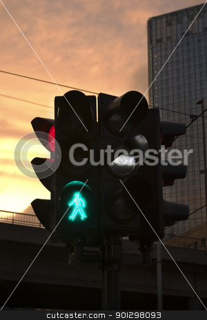 Walk stock photo, Street light in Oslo Norway with the green walk symbol lighting up. by Tyler Olson