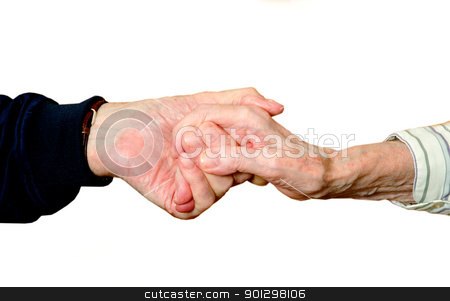 Old Love stock photo, True Love shown in two old hands holding each other, isolated on white with clipping path. by Tyler Olson
