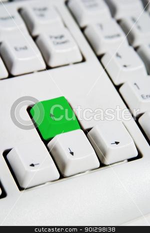 Arrow Keys Up Green stock photo, Arrow keys on a desktop computer keyboard with the up arrow green by Tyler Olson