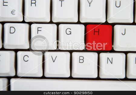 Computer Keyboard Letter H stock photo, Isolated letter H on from a computer desktop keyboard highlighted in green by Tyler Olson