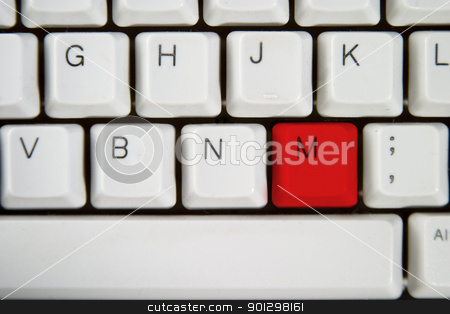 Computer Keyboard Letter M stock photo, Isolated letter M on from a computer desktop keyboard highlighted in Red by Tyler Olson