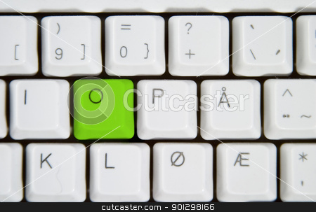 Computer Keyboard Letter O stock photo, Isolated letter O on from a computer desktop keyboard. by Tyler Olson