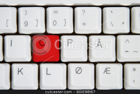 Computer Keyboard Letter O stock photo, Isolated letter O on from a computer desktop keyboard highlighted in red. by Tyler Olson